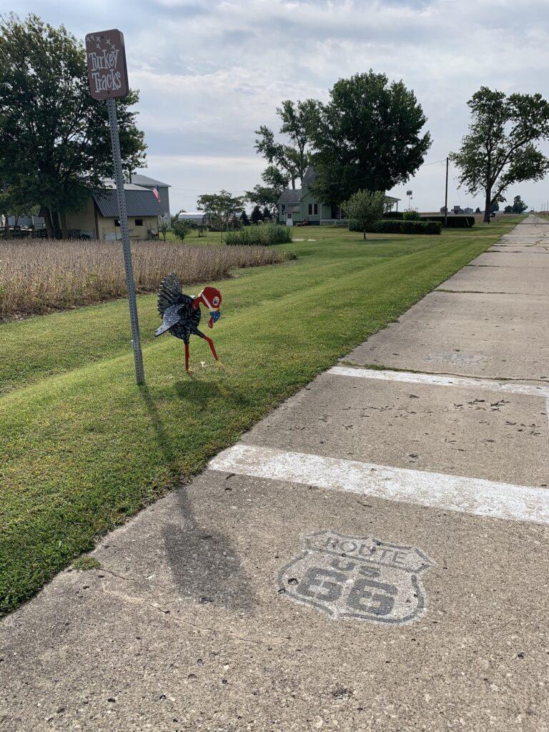 The turkey tracks on historic Route 66 in Illinois.