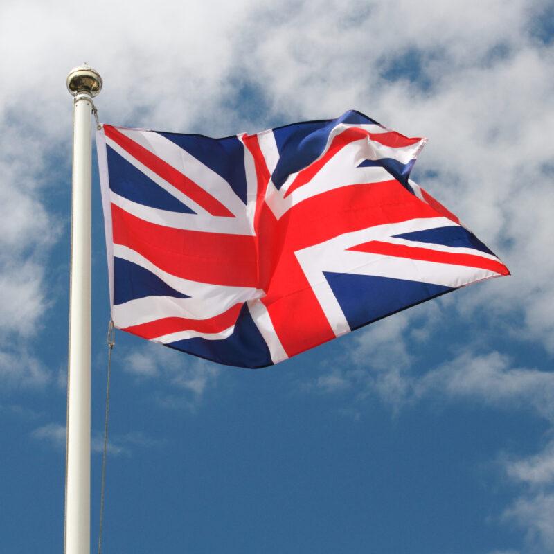 The U.K. flag flying over England.