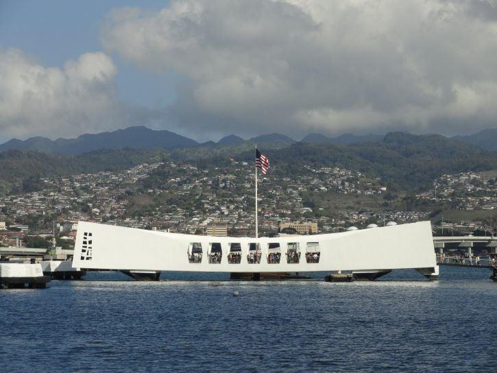 The U.S.S. Arizona Memorial in Oahu, Hawaii.