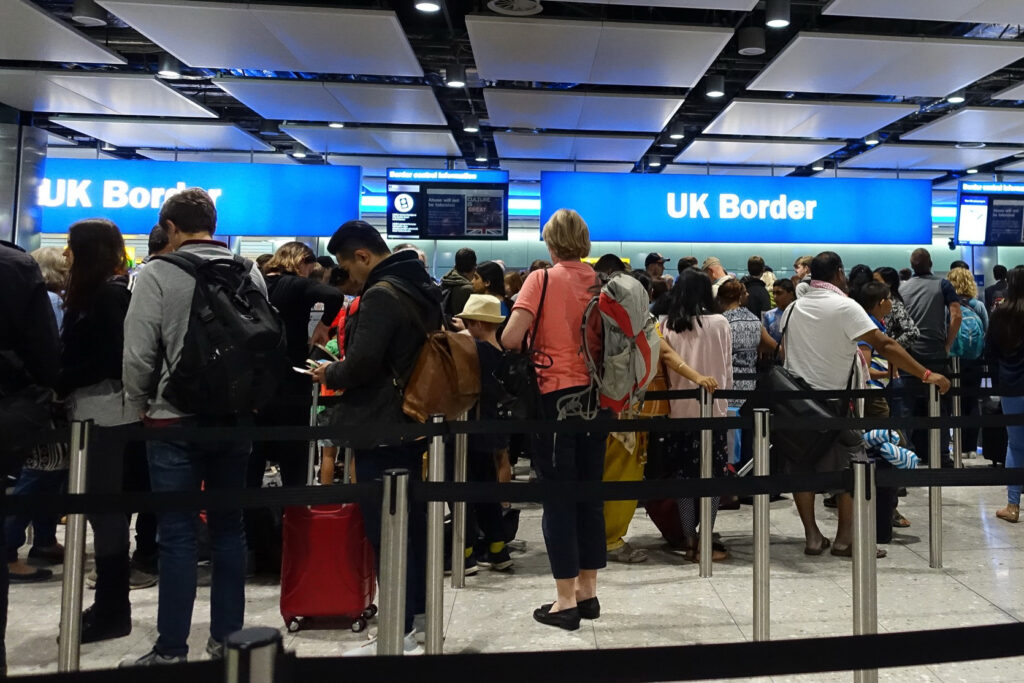 The UK Border in the Heathrow Airport.