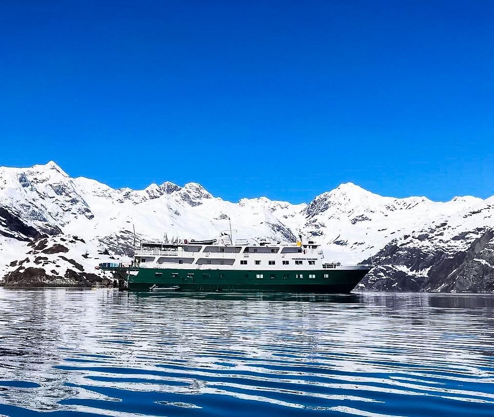 The UnCruise boat near some glaciers in Alaska.