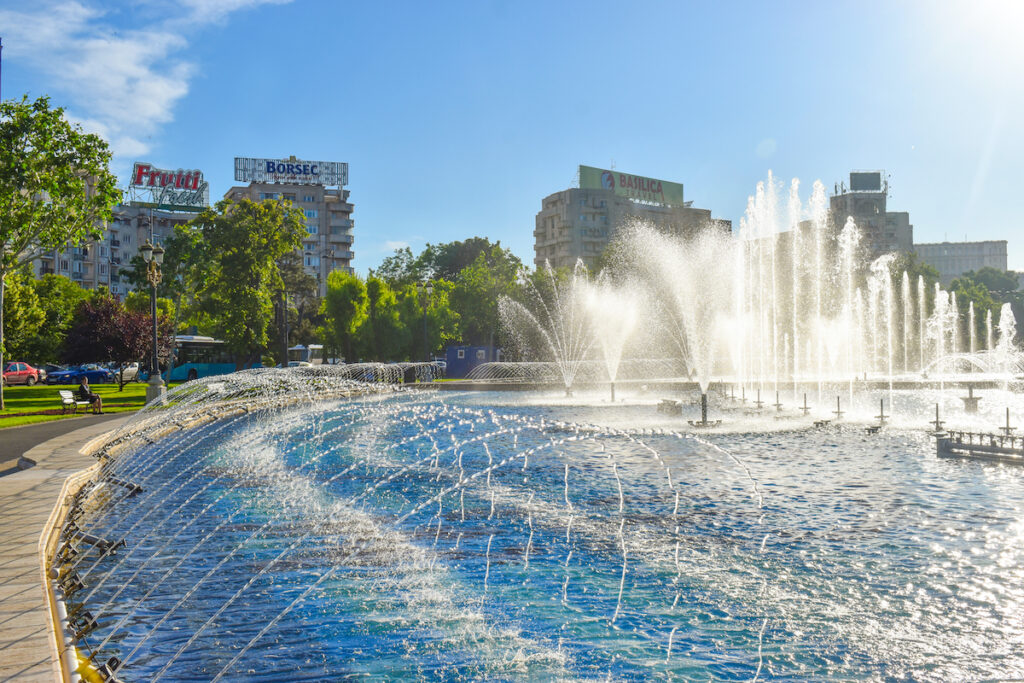 The Union Square Fountains in downtown Bucharest, Romania.