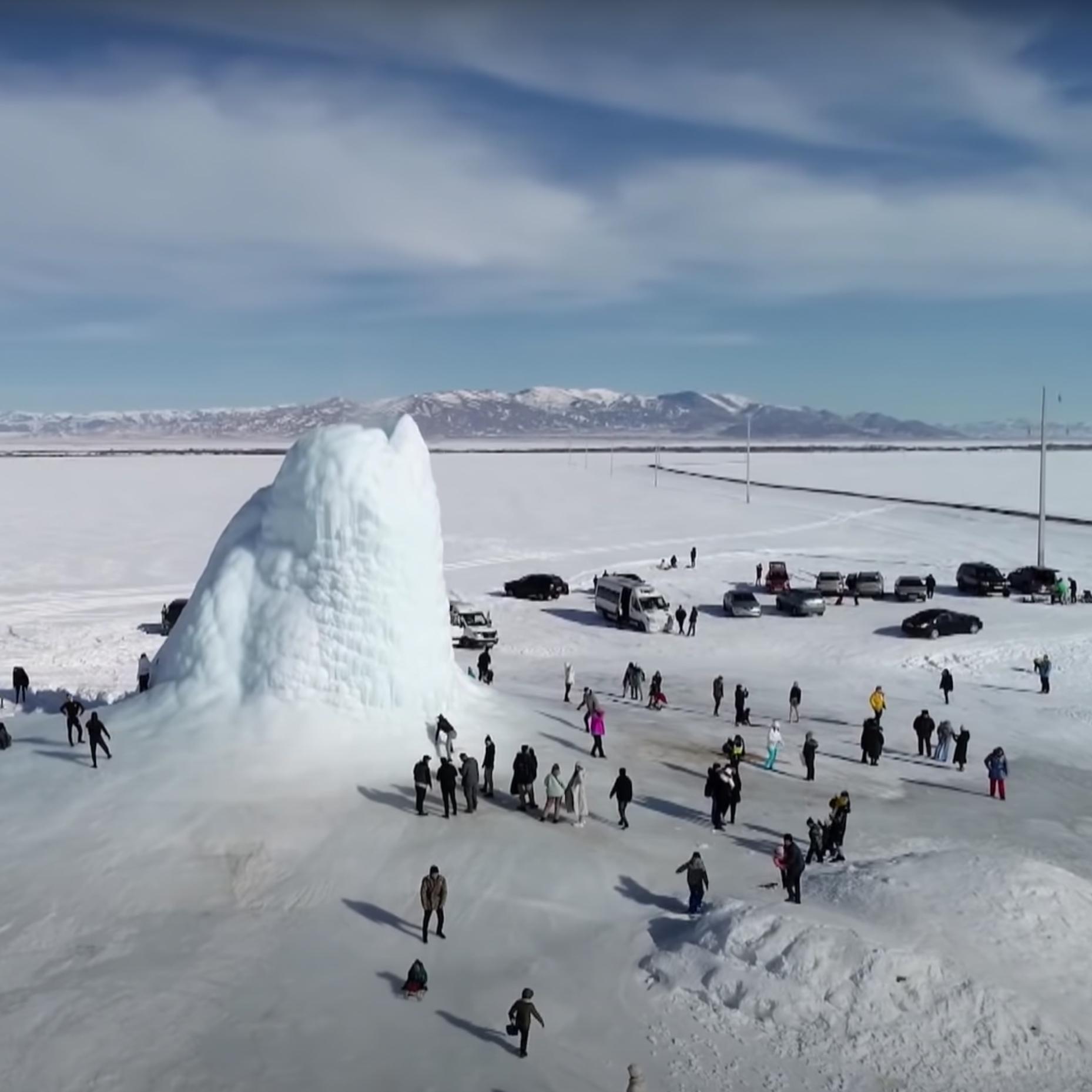 The unique ice volcano in Kazakhstan.