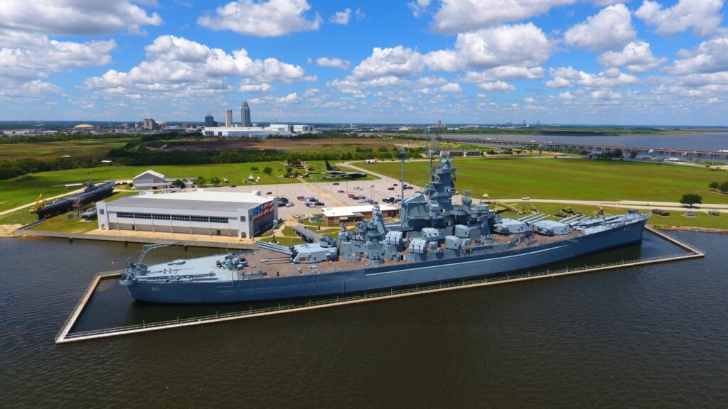 The USS Alabama in Mobile.
