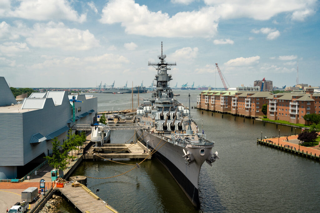 The USS Wisconsin at the Nauticus museum.