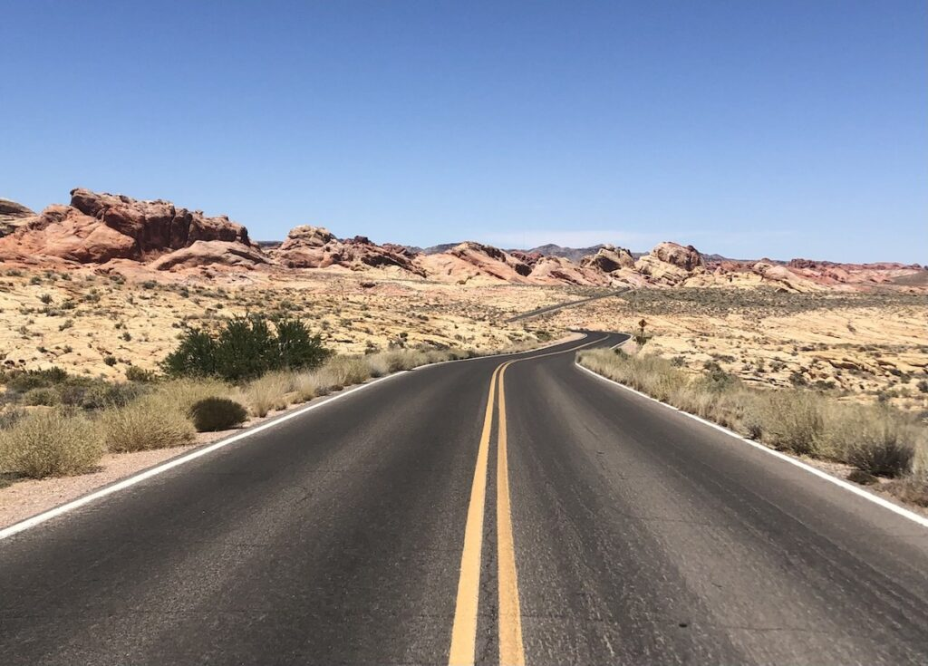 The Valley Of Fire State Park scenic drive in Nevada.