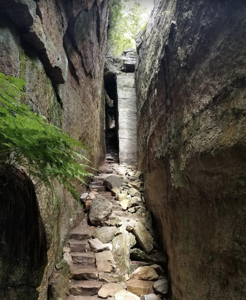 The Verkeerderkill Falls Trail in Minnewaska State Park Preserve.