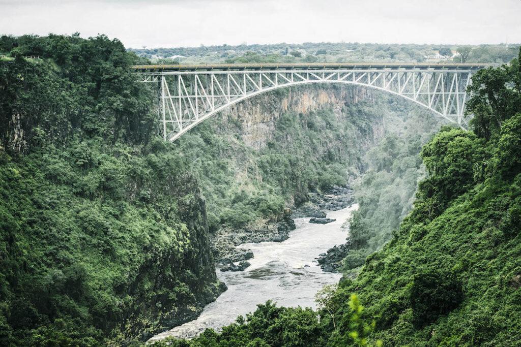 The Victoria Falls Bridge in Africa.