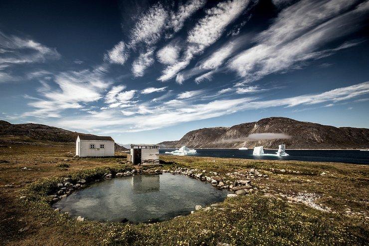 The view at Uunartoq Hot Springs.