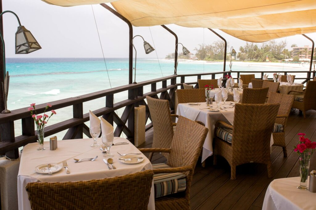 The view from Chameprs' Restaurant in Barbados.