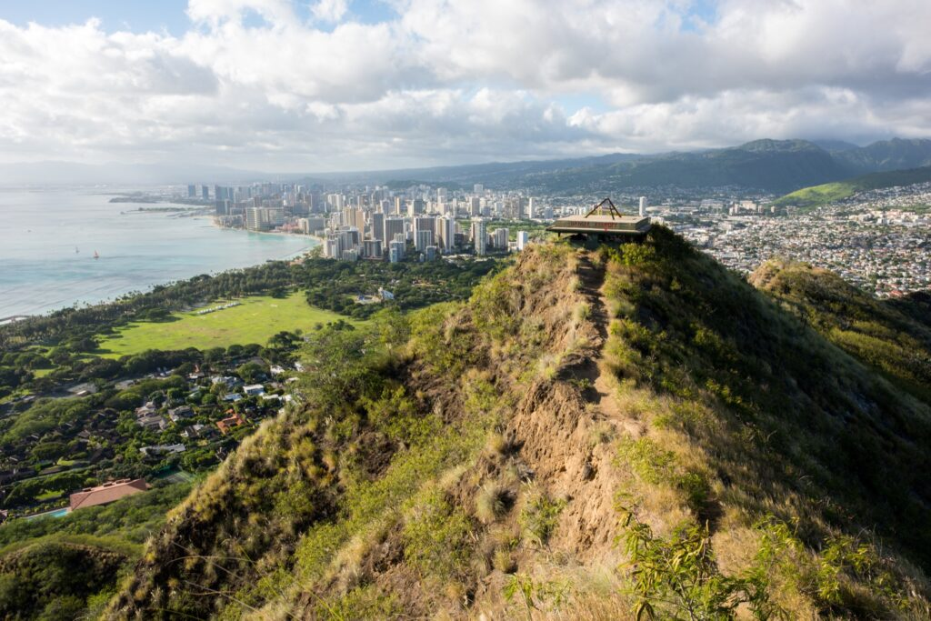 The view from Diamond Head State Park.