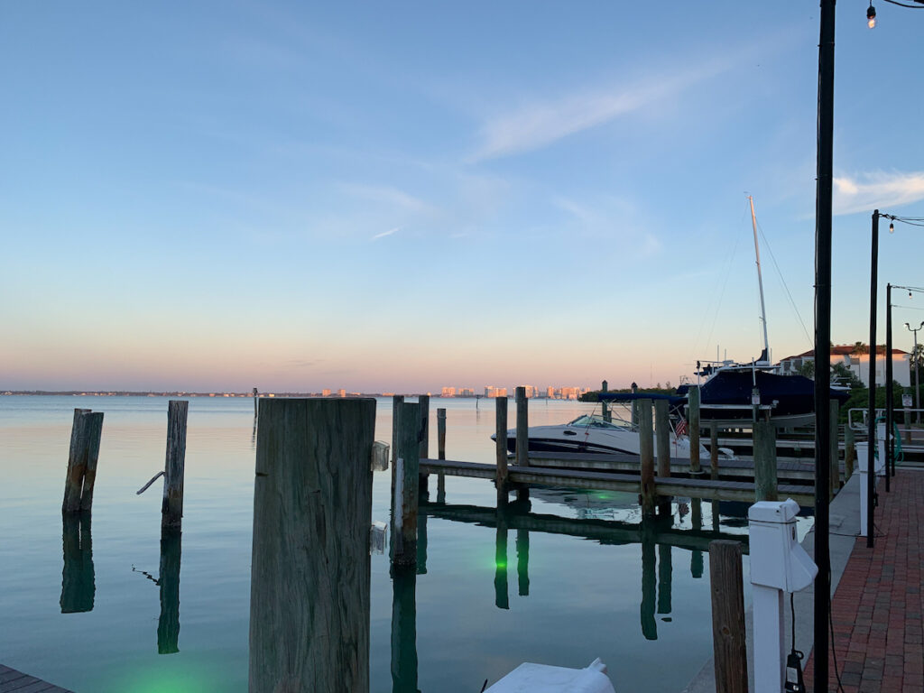 The view from Dry Dock Waterfront Grill in Sarasota, Florida.