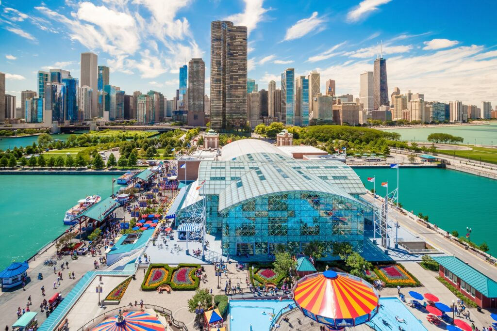 The view from Navy Pier's ferris wheel.