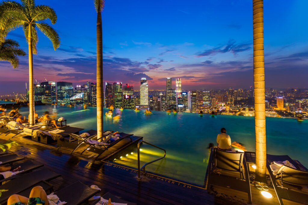 The view from the Marina Bay Sands Resort roof.