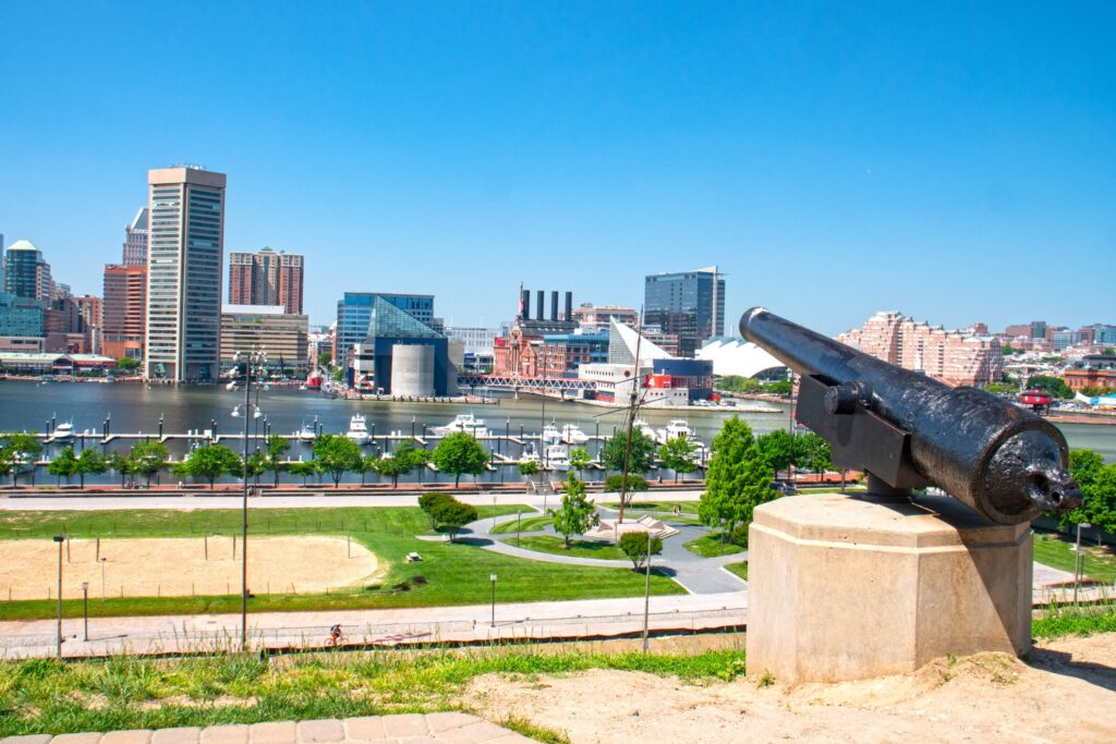 The view of Baltimore from Federal Hill Park.