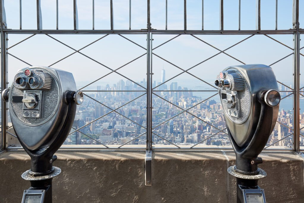 The viewing deck at the top of the Empire State Building.