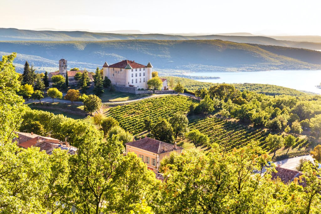 The village of Aiguines in the Provence wine region.