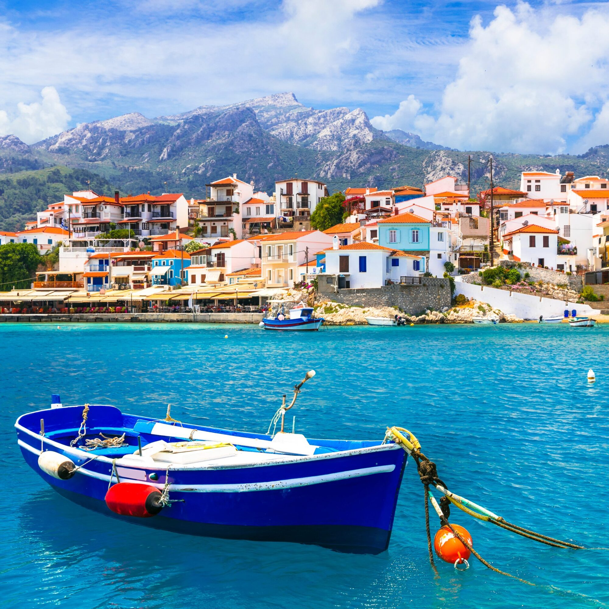 The village of Kokkari on Samos island in Greece.