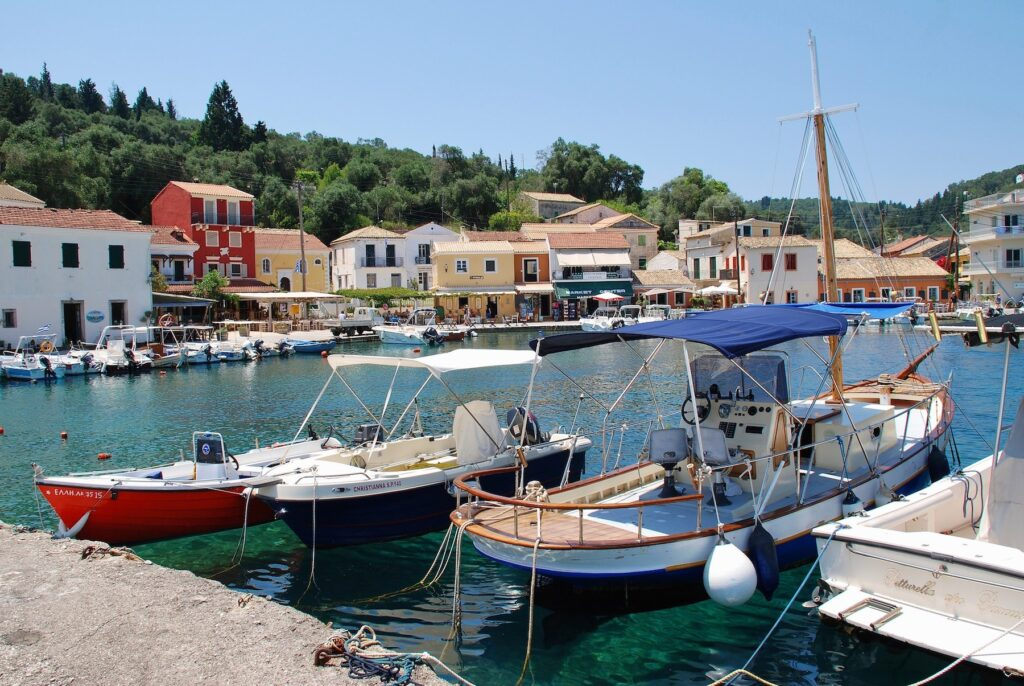 The village of Longos on the island of Paxos.