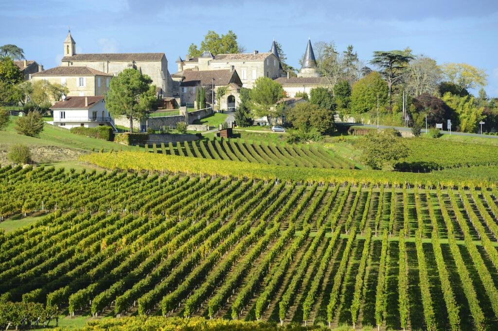 The vineyards of Saint Emilion in the Bordeaux wine region.