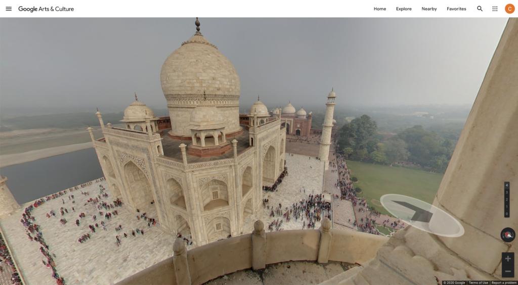 The virtual tour of Taj Mahal via Google Arts and Culture.