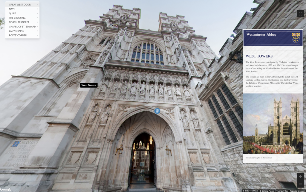 The virtual tour of Westminster Abbey.