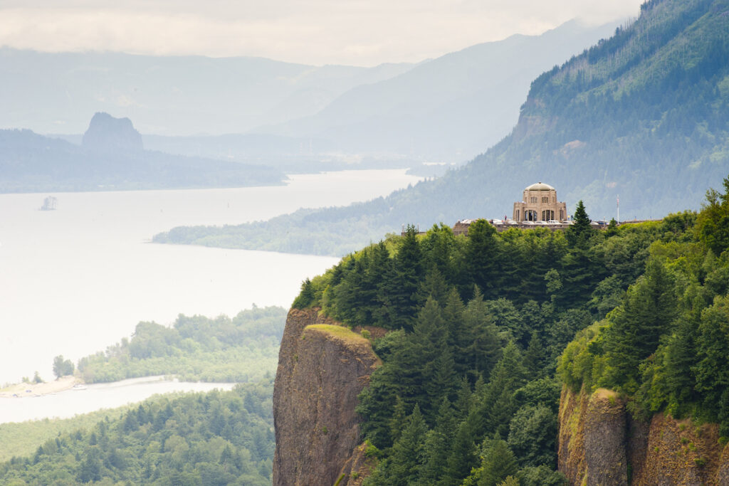 The Vista House along the Columbia River Gorge.