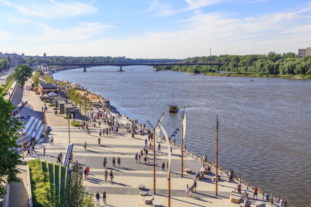 The Vistula Boulevards along Vistula River.