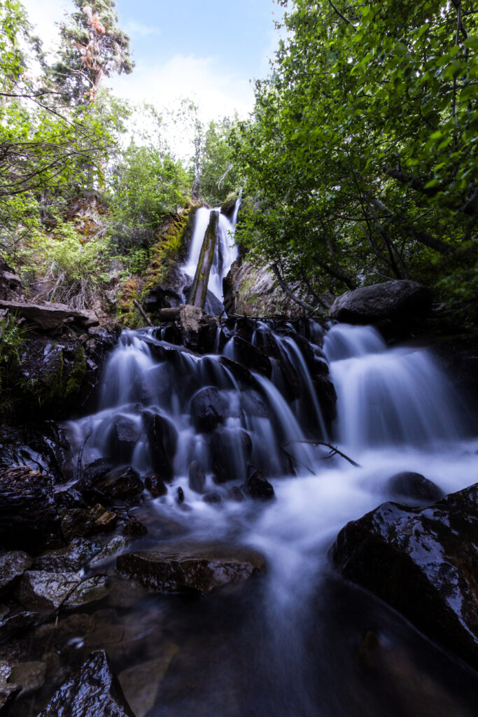 The waterfall at Hunter Creek Trail in Toiyabe National Forest.