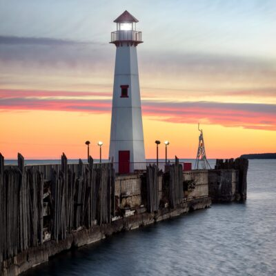 The Wawatam Lighthouse in St. Ignace, Michigan.