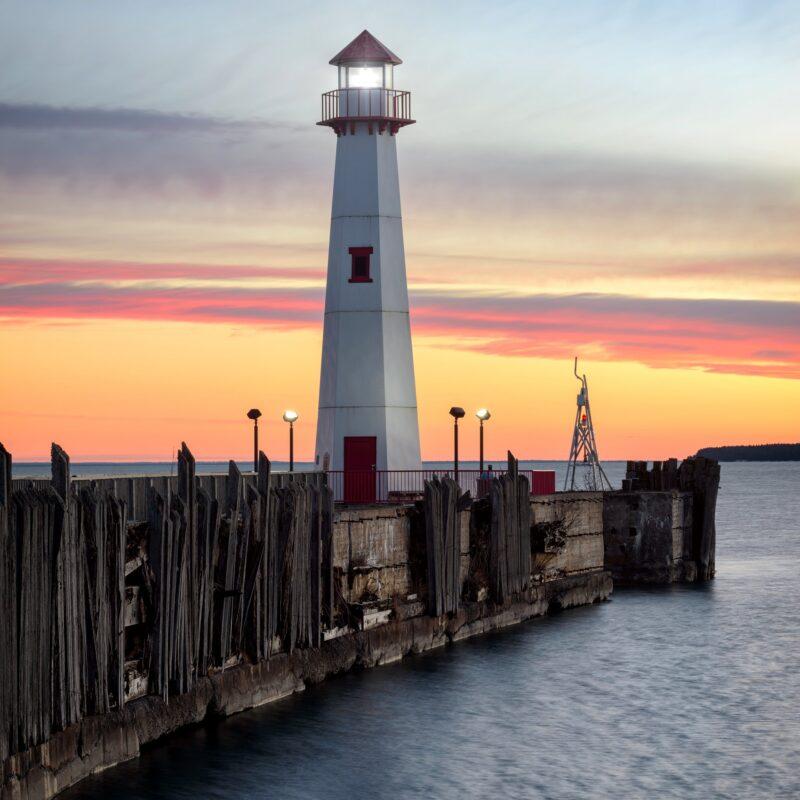 The Wawatam Lighthouse in St. Ignace, Michigan.