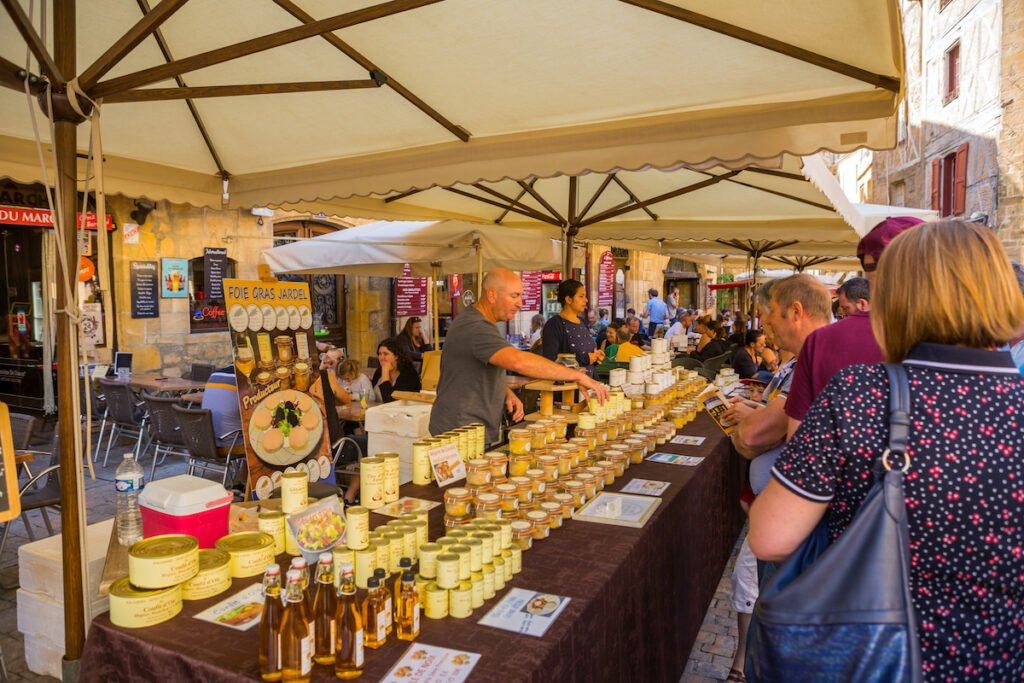 The weekly Sarlat market in France.