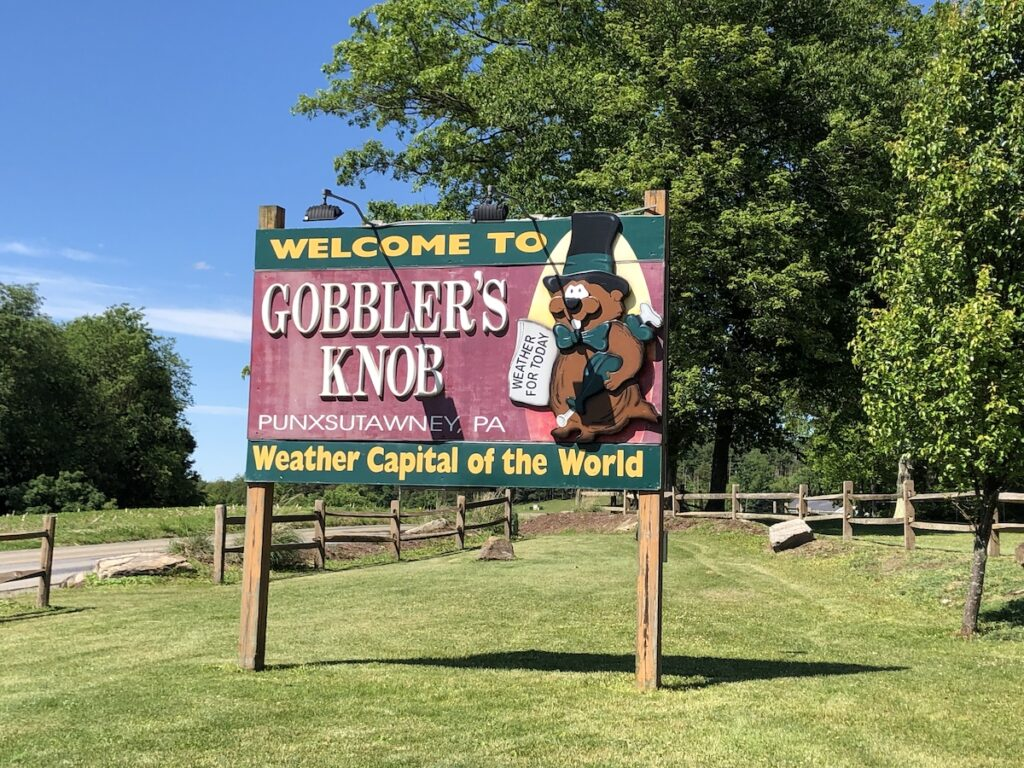 The welcome sign at Gobbler's Knob in Philadelphia.