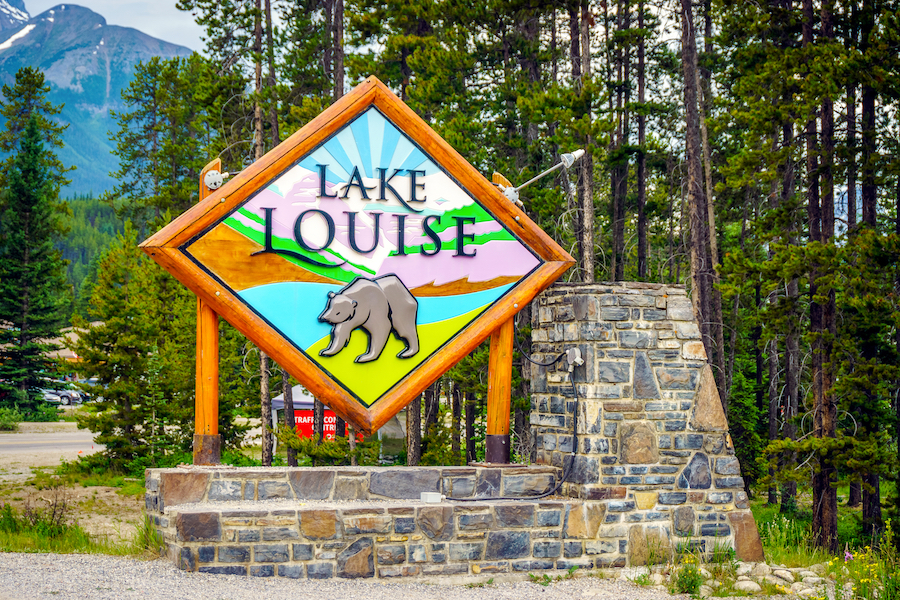 The welcome sign at Lake Louise, Canada.