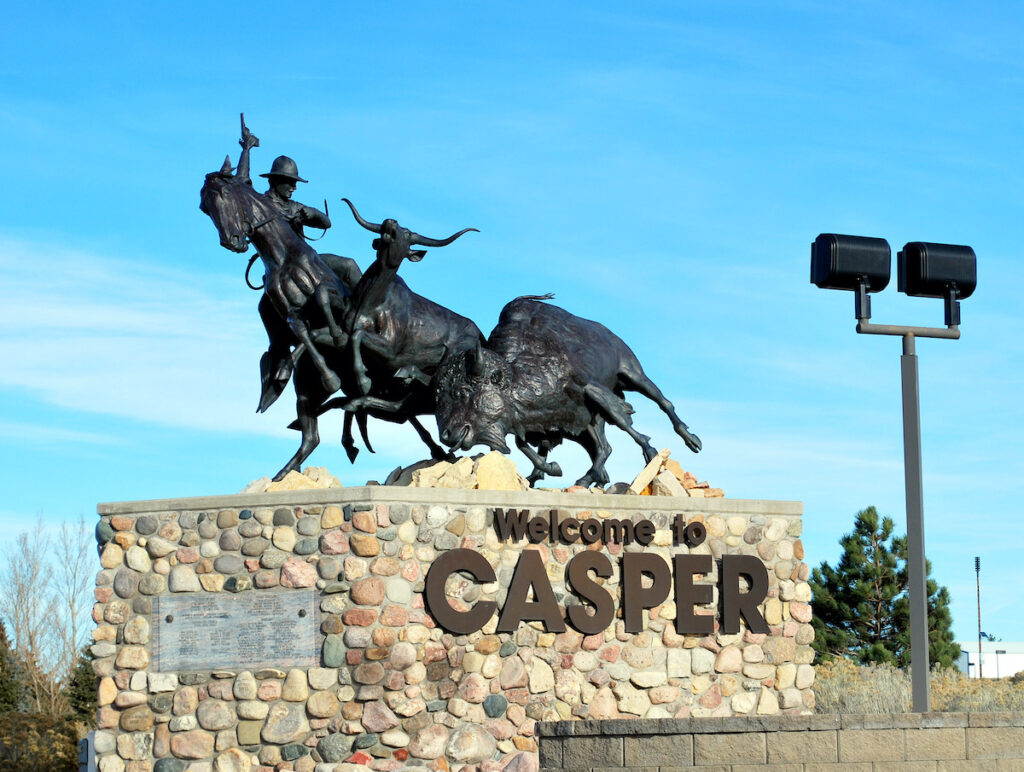The welcome sign in Casper, Wyoming.