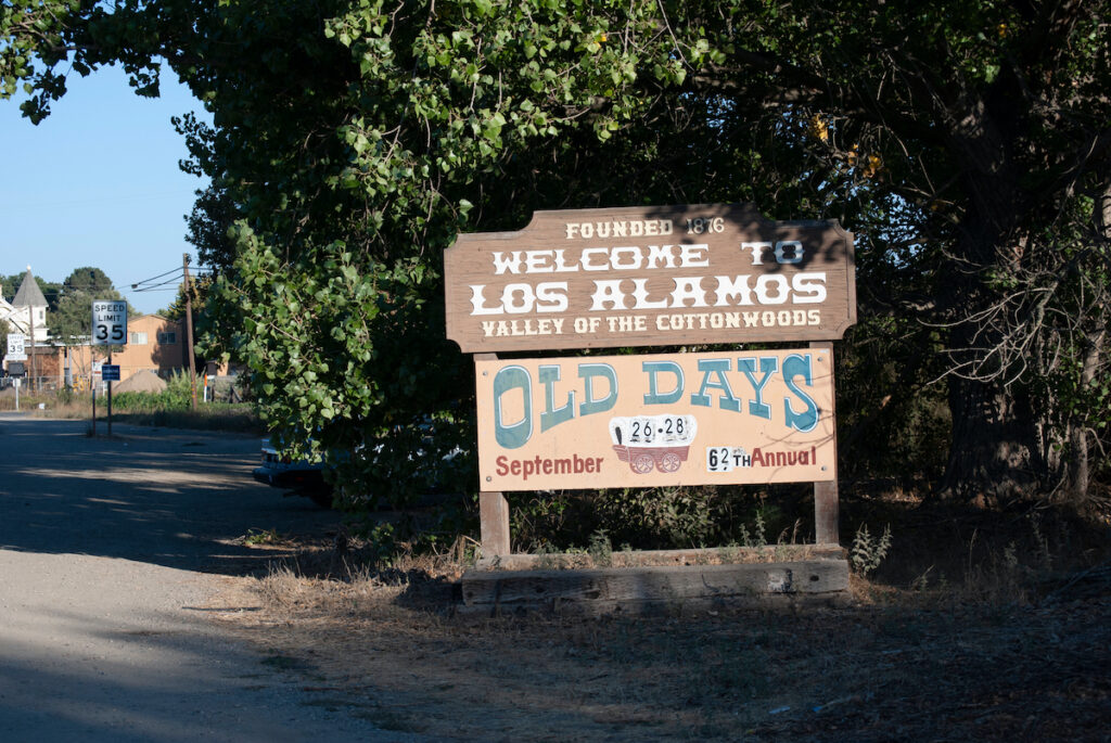 The welcome sign in Los Alamos, California.