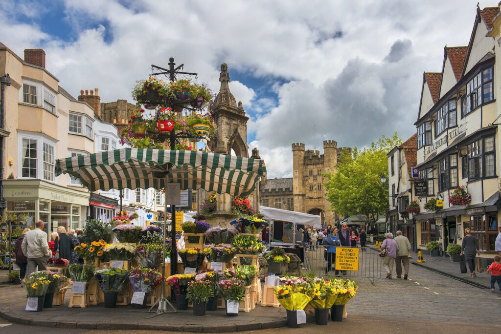 The Wells Market Place in England.