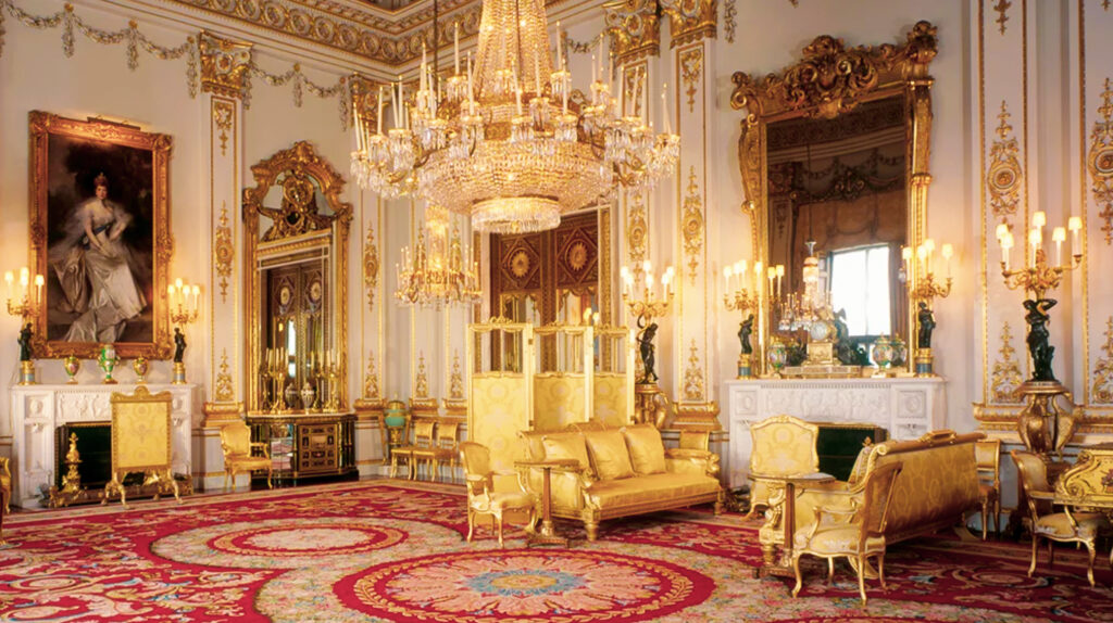 The White Drawing Room inside Buckingham Palace.