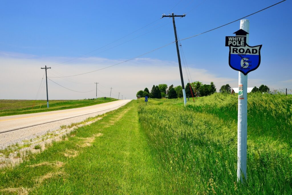 The White Pole Road Scenic Byway in Iowa.