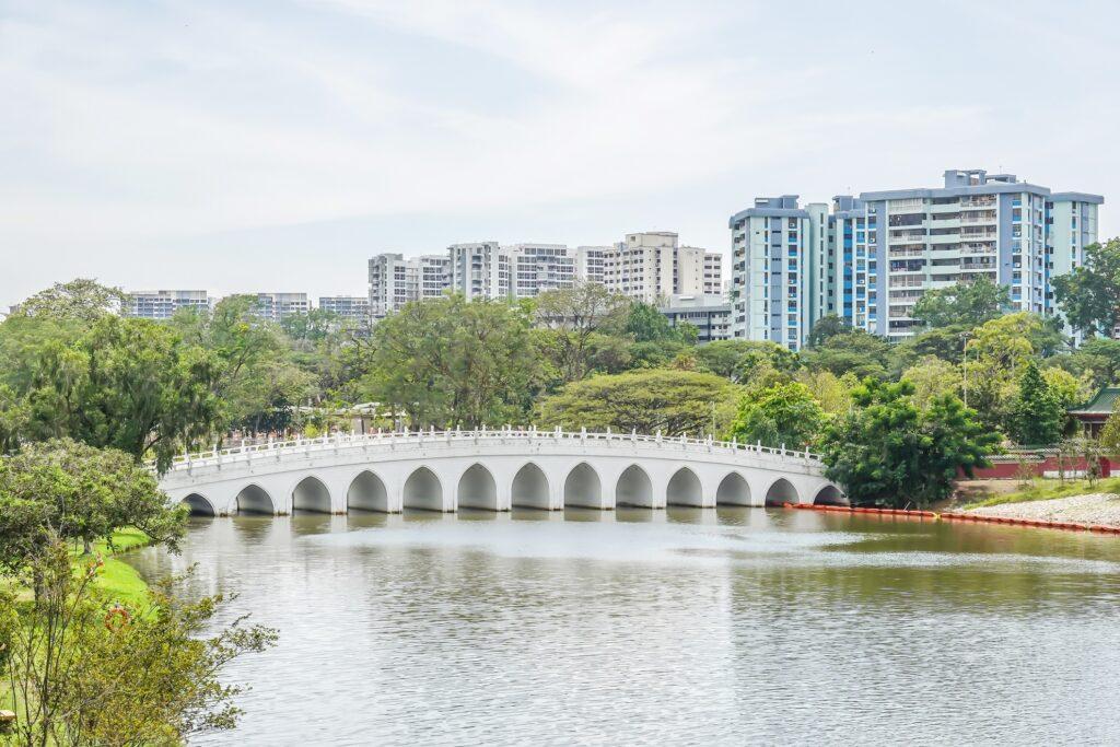 The White Rainbow Bridge in Singapore.