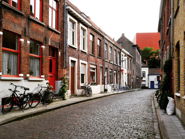 The winding cobblestone streets of Bruges, Belgium.