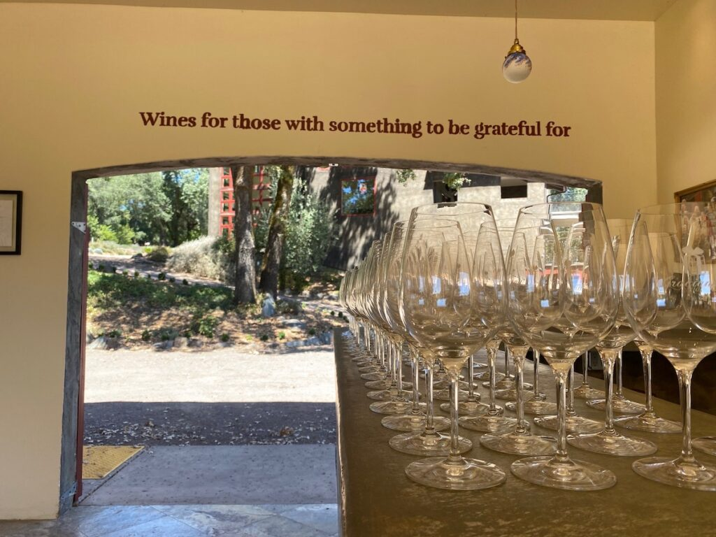 The wine tasting at Gracianna Winery in Sonoma County.