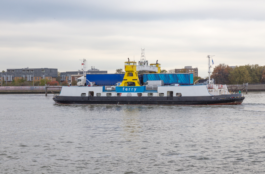 The Woolwich Ferry crossing the River Thames.