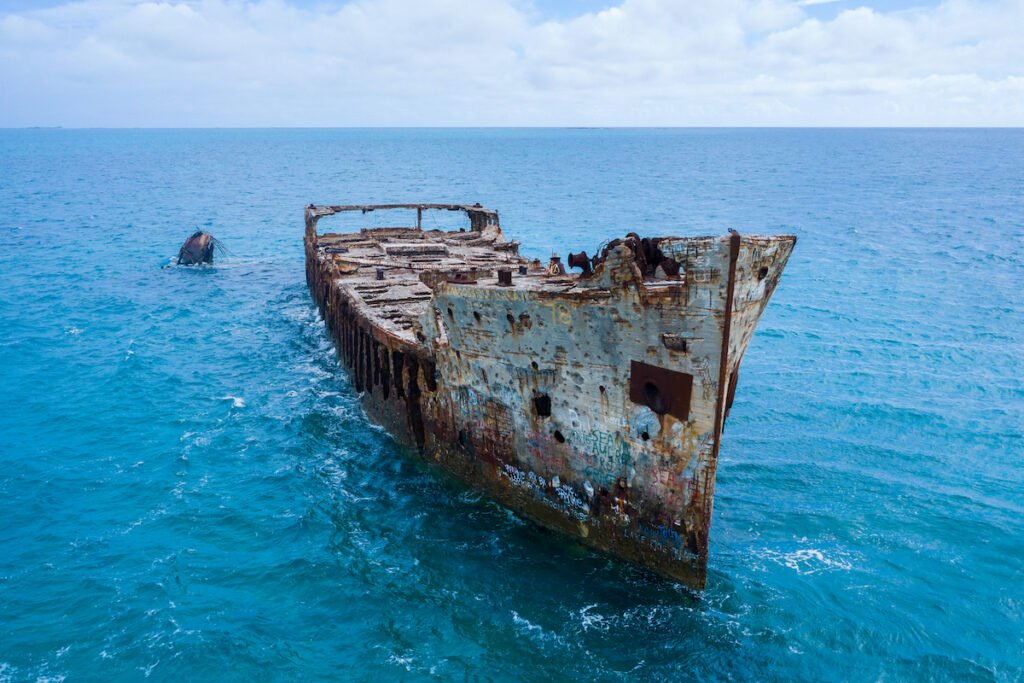The wreck of the SS Sapona on Bamini, an island in the Bahamas.