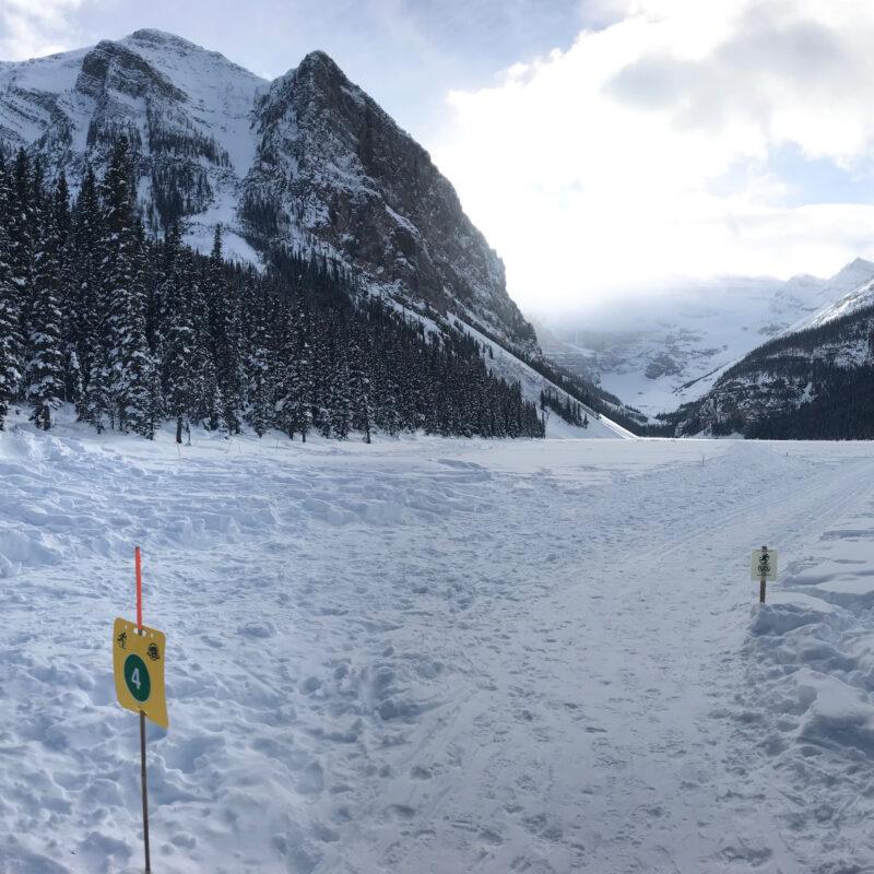 The writer admiring the scenery at an alpine ski resort.
