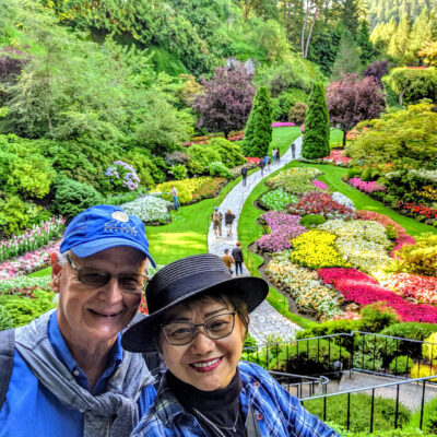The writer and her husband at Butchart Gardens on Vancouver Island.