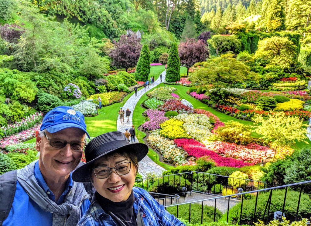 The writer and her husband at Butchart Gardens.