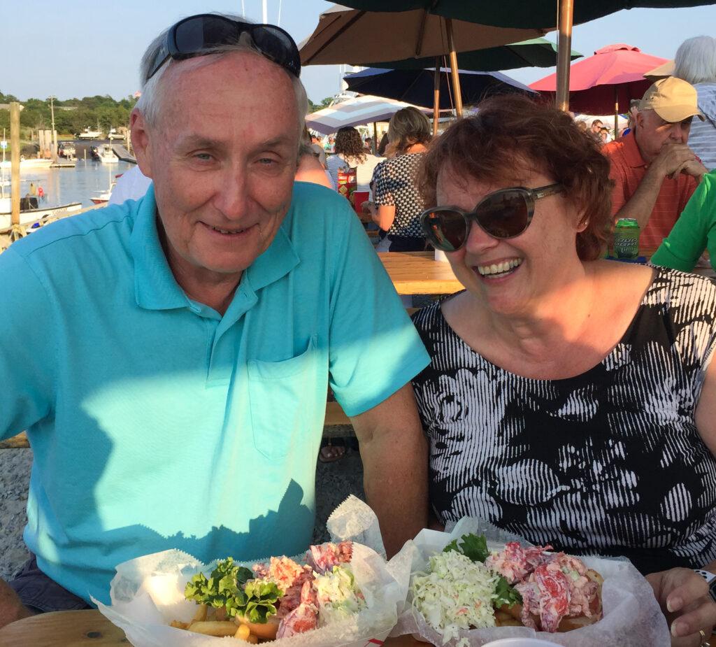 The writer and her husband enjoying Sesuit Harbor Cafe.