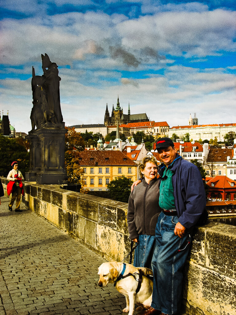 The writer and her husband in the Czech Republic.