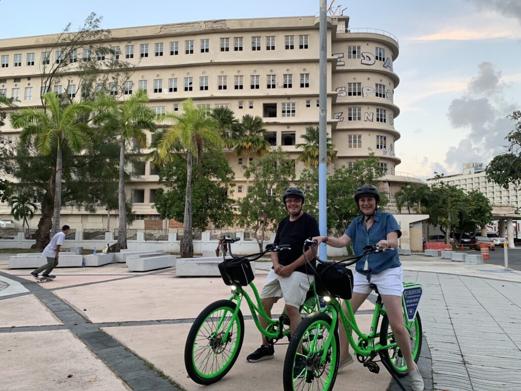 The writer and her husband on a bike tour.